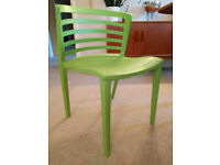 6 x green Polypropylene Chairs, UV Protected (In and Outdoor)