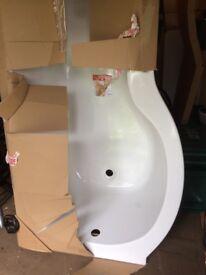 Left Hand 1700mm P Shaped Shower Bath