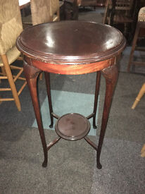 Pretty Antique Mahogany Round Decorative 2 Tier Side Table/Lamp Table