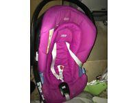 Mamas & Papas Pink cybex car seat & isofix base