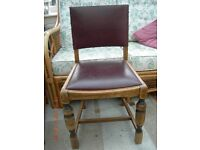 Oak dining chairs, four chairs one with arms