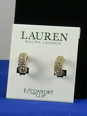 Ralph Lauren Goldtone E-Z Comfort Clip Pave' Huggie Hoop Clip On Earrings $38
