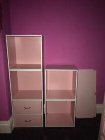 Pink cube shelves / Drawer unit