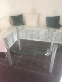 Glass extending dining table with 4 chairs