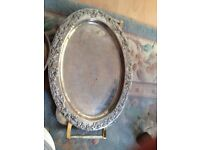 silver plate trays x3