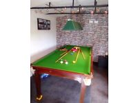 Snooker table with slate top + mahogany top covers