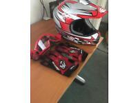 Motorcross worf helmet goggles and gloves