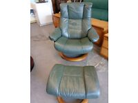 Ekornes Stressless Mayfair Reclining Chair & Footstool in Green Leather. Large