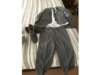 Three piece suit, shirt, tie and shoes £35