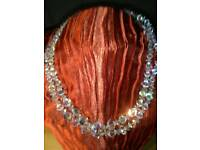 NEW DOUBLE STRAND, HAND CARVED, CRYSTAL BEAD NECKLACE, WITH SILVER CLASP
