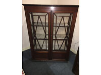 Gorgeous Antique Victorian Mahogany Glazed Double Door China Display Cabinet Bookcase