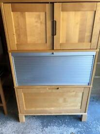 Filing cabinet and cupboard with lock