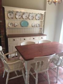 Cream painted country style Welsh dresser plus matching table with 6 fiddleback chairs