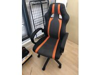Orange Black Racing Gaming Office Seat, Swivel Desk Chair, Recliner And Tilt