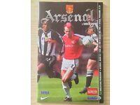 Football programme 2001/2002 season Arsenal v Sunderland