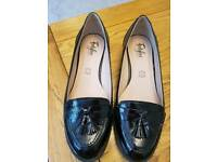 M&S leather tassel black patent loafers