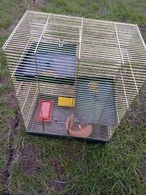 Gold bird cage with extras