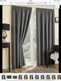Balmoral Grey Thick Textured Chenille Thermal Interlined Pencil Pleat Curtains 90x90