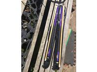 2 x pool cues in soft cases