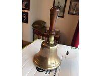 Antique brass bell from school or ship, World War 2 etc
