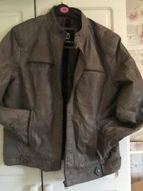 Mens Retro Style Zipped Biker Jacket Real Leather Soft Grey Vintage Look