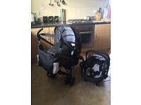 Silvercross pram 3 way system, comes with car seat and changing bag