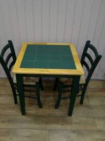 Pine tiled table + 2 chairs , good condition