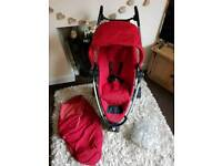 Quinny Zapp XTRA 2 Red Pushchair with Footmuff and Raincover