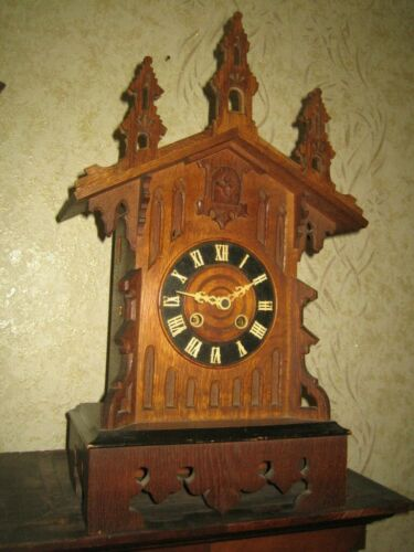 ANTIQUE  BLACK FOREST GOTHIC STYLE  MANTEL CUCKOO CLOCK