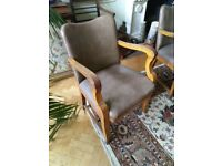 Leather effect grey 1940s smoking pub chairs wooden arms x10