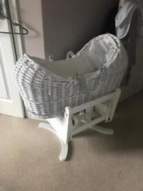 Moses basket and stand - immaculate, stand the same as hospitals use - ideal for newborns