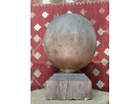 Huge antique oak architectural feature, Ball on plinth, made from one piece of oak 32cm ball !!
