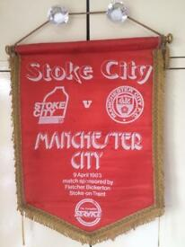 35 years old football pennant Manchester City away to Stoke