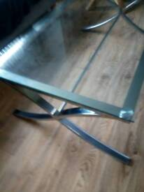 nice coffee table lovely chrome work with a heavy glass top