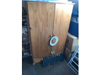 Bed, mattress, chest of drawers, small wardrobe