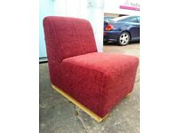 Comfy upholstered chair with matching coffee table , exdisplay, very good condition.