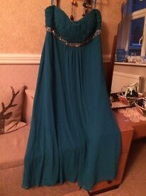 Evening dress Sapphire Blue chiffon size 18. Never worn