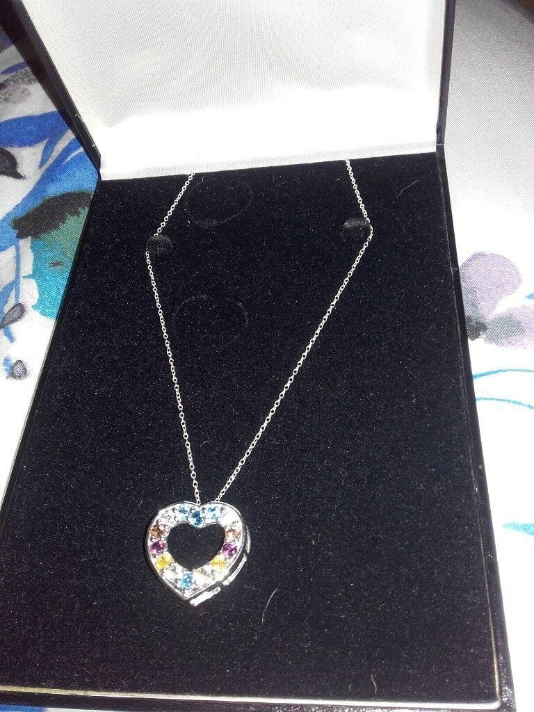 geniune gemstones silver necklace