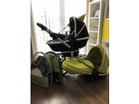 Silver Cross pushchair / pram black and lime green