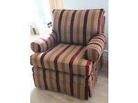 Multiyork Armchair in red/brown/gold stripe.