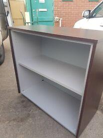 Dark wood effect office bookcase with a Grey inside / office shelf uni