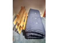 Futon sofa bed double with memory foam mattress topper