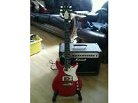 Very special custom guitar,gibson pickups,gold and red,see all pics stunning valco supro