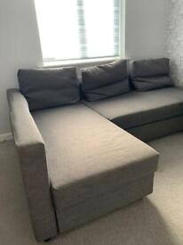 L- shape grey sofa bed ikea with storage double bed