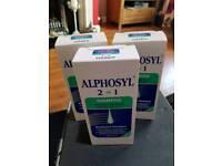 3 full bottles of alphosyl 2 in 1 coal tar shampoo 250ml