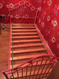 Single Pink Bed Frame with Hearts