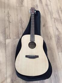 Lorenzo flame acoustic guitar with case L449