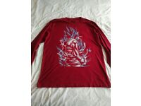 Super Saiyan God Goku T shirt - Colour Cardinal - Long Sleeves - BNWT - Size XL