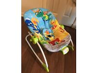 Baby Einstein Rocker with vibration, sound, and overhead toys