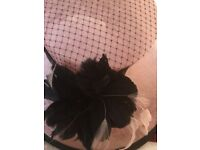 Ladies formal Hat in Pink with Navy detail